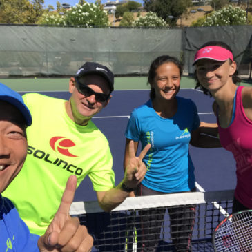 Gaby enjoys hitting a few balls with WTA player Amra Sadikovic Oct. 2017