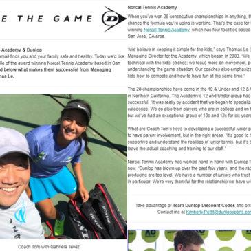 NorCal Tennis Academy featured in Dunlop newsletter